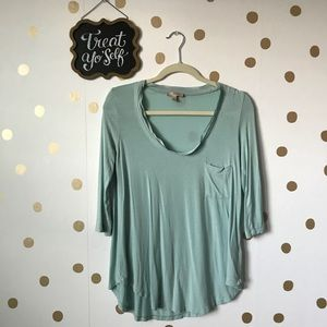 Anthropologie Bordeaux Chiffon Trimmed Tee